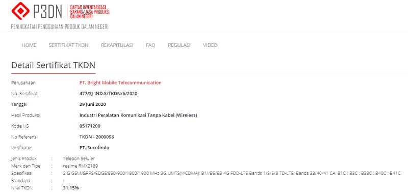Sertifikasi TKDN Realme C12