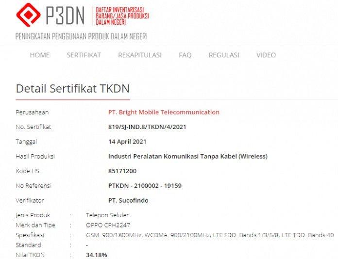 TKDN OPPO Reno6 Indonesia