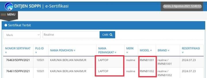 Sertifikasi postel realme Book Indonesia
